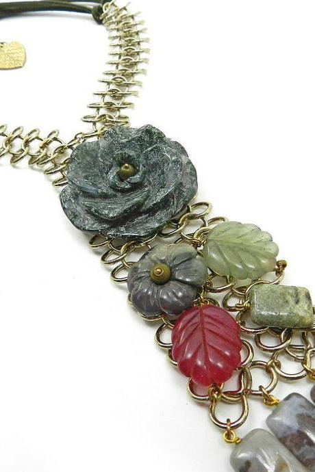 Gemstone collar bib necklace with stone flowers