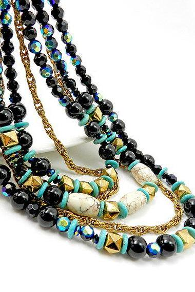 Black and gold multistrand necklace - statement jewelry