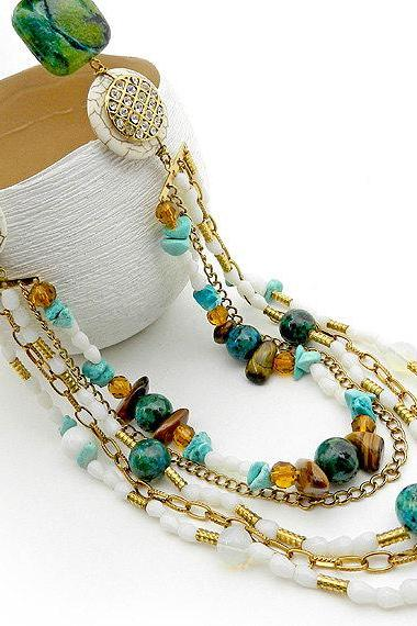Ornate multi strand layered statement necklace in blue green
