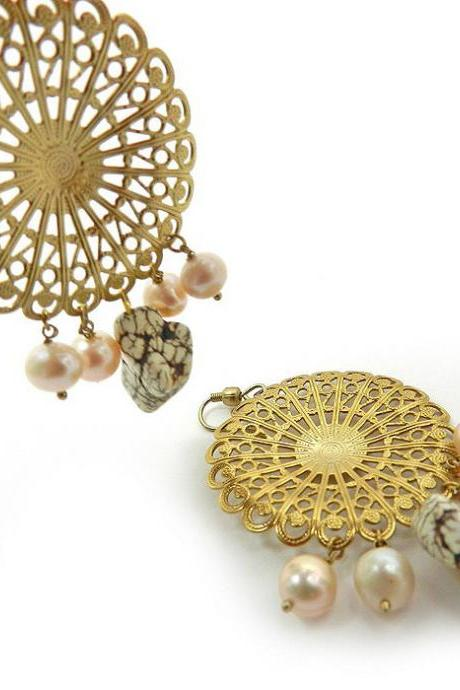 Gold ornate chandelier earrings with pearls and stone