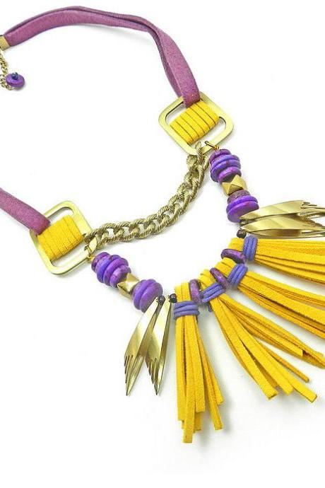 Edgy bold bright yellow statement necklace with tassels