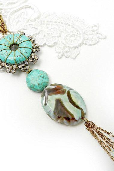 Long turquoise chunky necklace