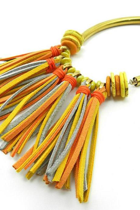 Vibrant yellow and orange fringe tassel bib necklace