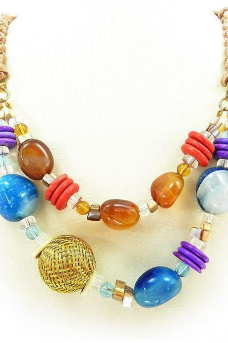 Bright multicolred layered beaded necklace
