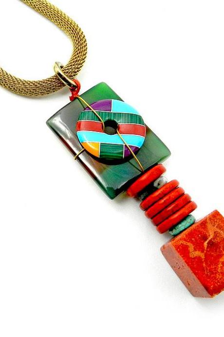 Bold handmade gemstone necklace - chunky stone jewelry