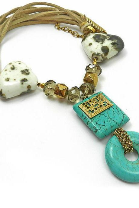 Ethnic turquoise statement necklace - unique tribal jewelry