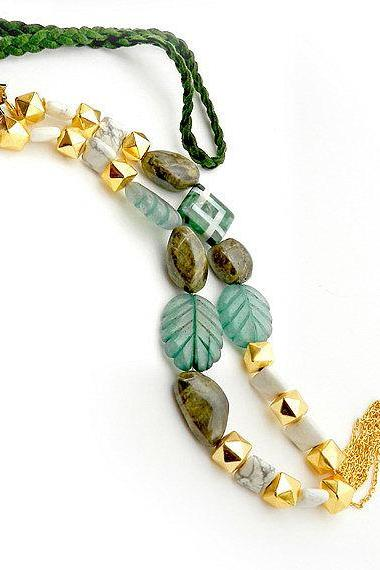 Emerald green necklace mix gemstone long necklace - handmade jewelry