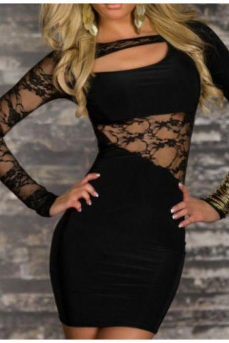 New Sexy Black Clubwear Dresses Lace Satin Soft Slim Mini Dress for Women Cheap On Sale Lace Long Sleeve Night Party Dress Tunics Clothes