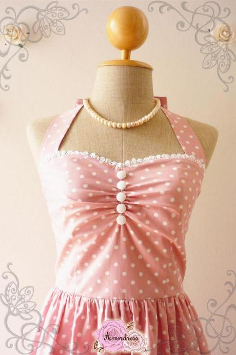 Cute Pale Pink Dress Tea Length Dress Classic Polka Dot Dress Bridesmaid Party Dress Once Upon A Time -Size XS, S, M, L, XL-