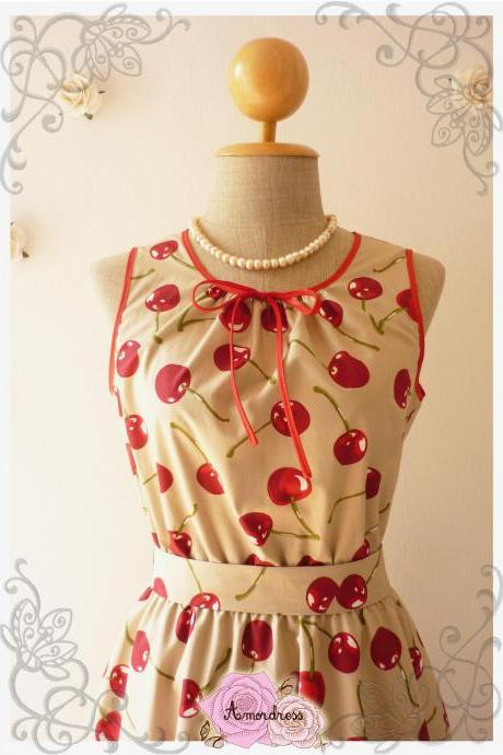 Cherry Tea Dress My Cherry Dress Brown Khaki with Red Cherry Tea Dress Vintage Inspired Dress Sleeveless Dress -Size XS,S,M,L,XL,-