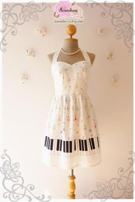 Music Lover White Dress Piano Dress Retro Party Bridesmaid Dress Choir Birthday Concert Dress -Size XS,S,M,L,CUSTOM-