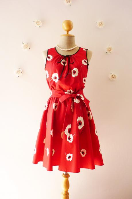 Red Floral Dress Tea Dress Vintage Inspired Dress Sleeveless Dress Bridesmaid Party Dress Christmas Dress -Size XS,S,M,L,XL