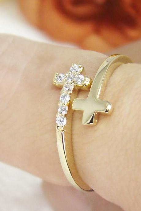 Women's Teen's Sideways Double Cross Ring w Crystal Gold Plated Size Adjustable RC09