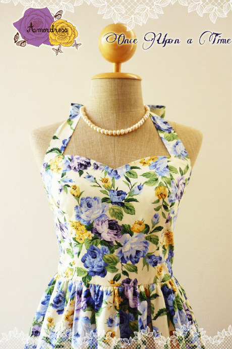 Floral Dress in Blue Once Upon a Time -Size XS, S, M, L, XL