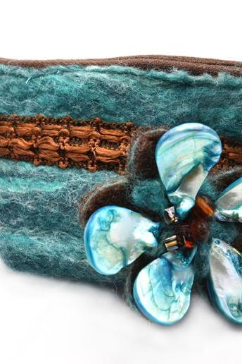 Merino and silk Felt teal Purse with pearl shell brooch