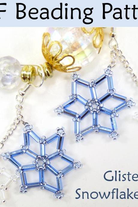 Beading Tutorial Pattern Earrings - Winter Holiday Snowflake Earrings - Simple Bead Patterns - Glistening Snowflakes #3486