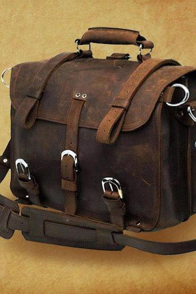 "High quality genuine crazy horse leather Bag/Rugged Leather Briefcase/Backpack/Messenger/Laptop/Men's Bag/Bag Large 16"" in Dark Brown--Y001"