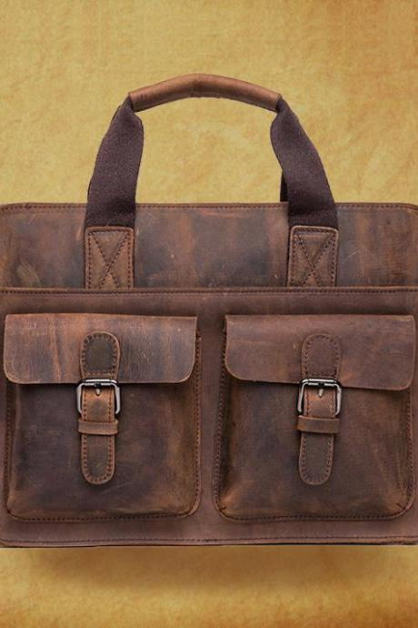 High quality Genuine cow leather Bag in coffee / Rugged Leather Briefcase / Backpack / Messenger / Laptop/Men's Bag --Y007