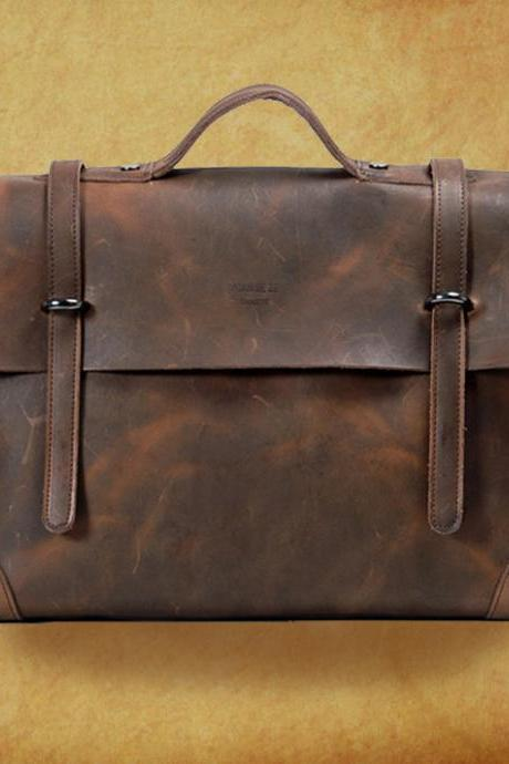 "15""Rugged Genuine Leather Briefcase - Messenger Bag - Leather Laptop - Men's Bag in Brown--T036"