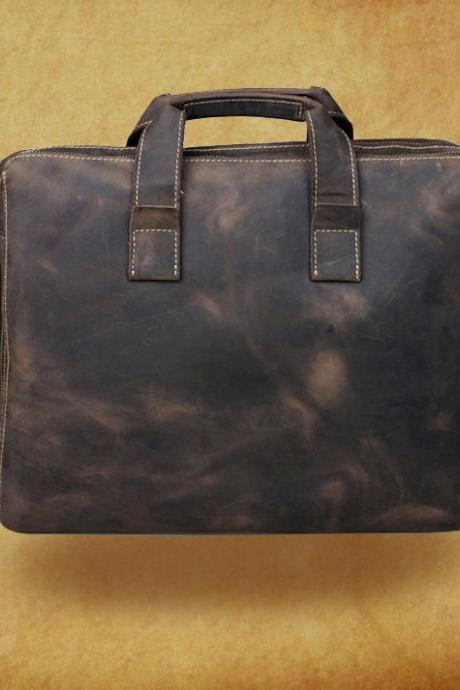 "High quality genuine leather Bag / Rugged Leather Briefcase / Messenger / Laptop / Men's Bag/Bag Large 16"" in Dark Brown--Y17"