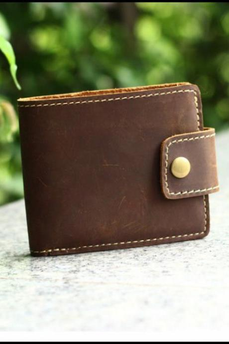 Genuine Leather wallet / men wallet / Leisure wallet / Personality wallet / Short wallet / retro wallet--T057