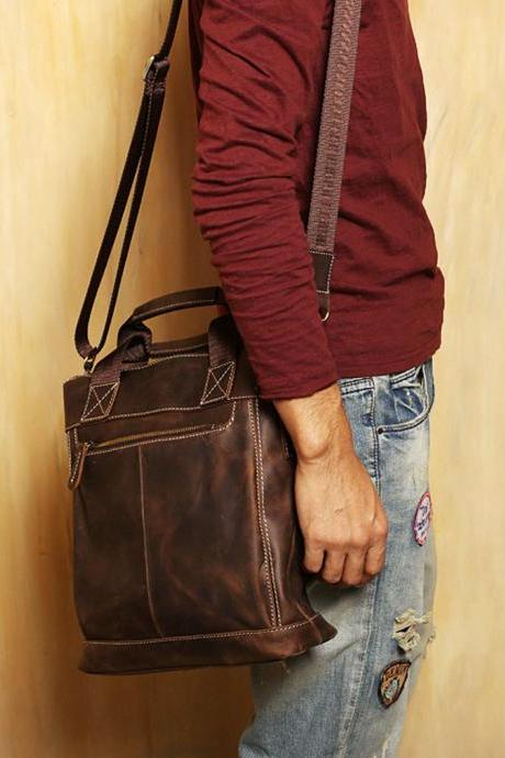 Genuine Leather messenger / fanny pack / Leather Briefcase / package / school bag / Men / For He--T61