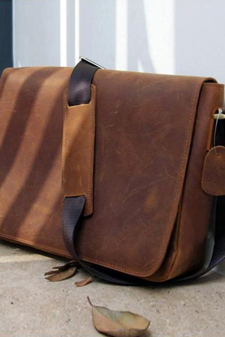 Rugged Genuine Messenger Bag - Leather Briefcase- Leather Laptop - Men's Bag in Brown--T70