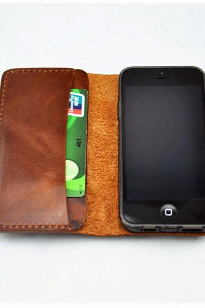 Leather iPhone case / iphone wallet / Hand bag / wallet / iphone case / For He / Gift—T89