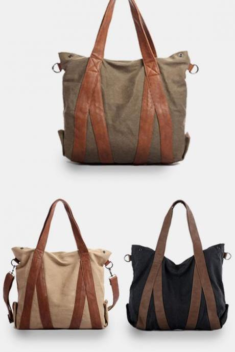 Canvas tote bag / Briefcase / Laptop / Women's bag / travel bag / shoulder bag--Q8