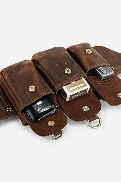 Genuine leather Belt Bag / Rugged Leather Briefcase / Leather Hip Bag / Men's Bag in Brown--Y014