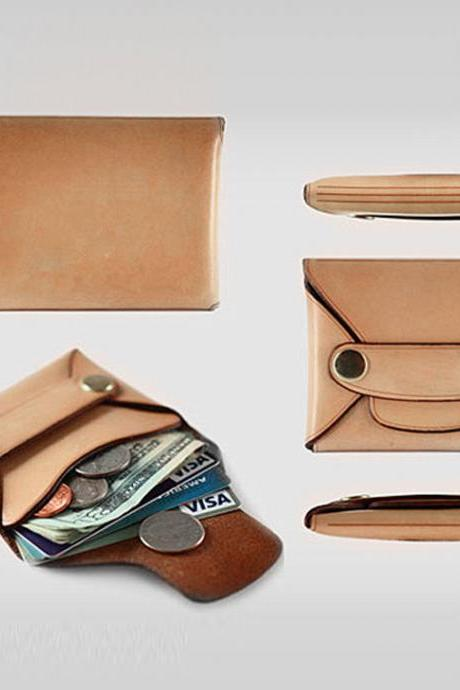 Leather Card Case / Minimal Leather Wallet / Slim Card Holder / Men Women Cash Card Holder-T81