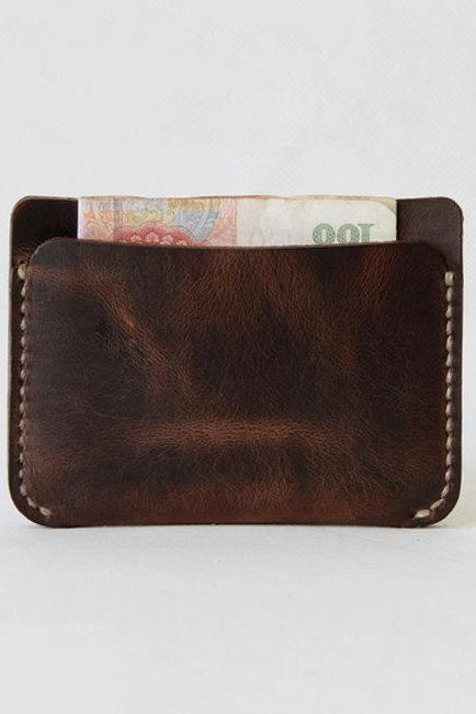 100% Genuine leather Wallet / Slim Card Holder / Leather Card Case / Cash Card Holder—T6