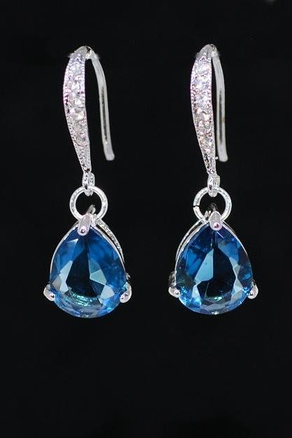 Elegant Glass Sapphire Blue Teardrop Earrings - Wedding Jewelry, Bridal Earrings, Bridesmaid MOH Gift (E436)