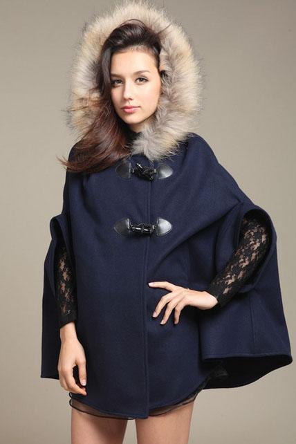 Woman Fur Hat Design Cape Coat - Navy Blue