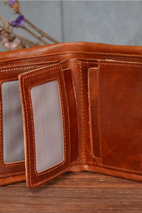 100% leather wallet /men wallet / Leisure wallet / Personality wallet / Short wallet / retro wallet--T064