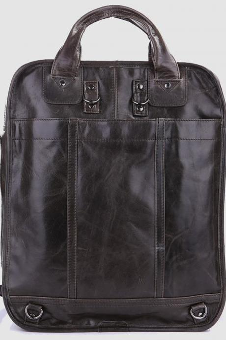 Genuine leather Backpack in black / Rugged Leather Briefcase / Backpack / Messenger / Laptop / Men's Bag - Y7
