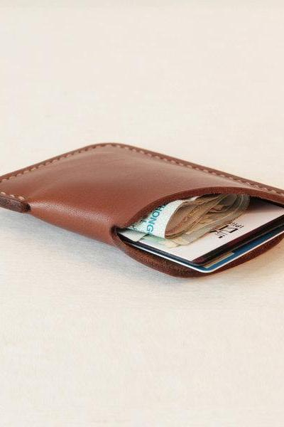 Simple Genuine leather Wallet / Slim Card Holder / Leather Card Case / Cash Card Holder—T7