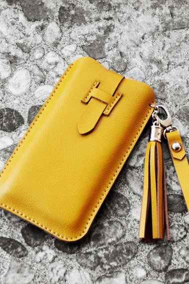Handmade Genuine Leather Phone case in Yellow / Wallet / Hand bag / women wallet / leather iphone case / travel / women case / For Her/gift