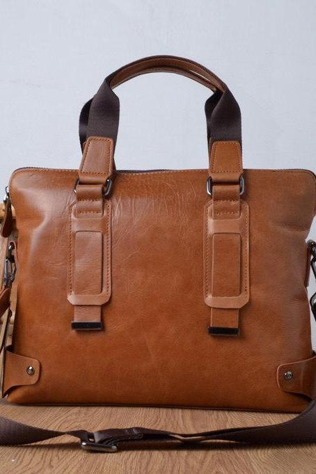 Simple cowhide leather laptot - Briefcase - Leather Laptop - school bag - crossbody-T060