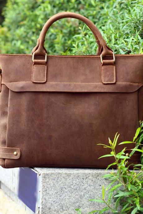 Handmade 100%cowhide leather laptop - Briefcase - Leather Laptop - school bag - crossbody-T059