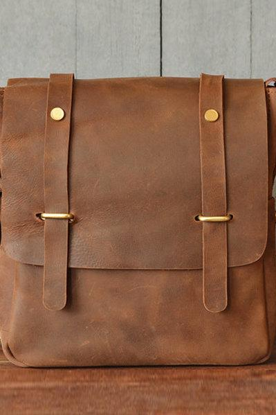 Leather Briefcase / Messenger Bag / Leather Laptop / Crossbody bag / school bag / Men's Bag - leather case--T30
