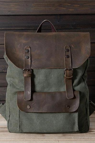 New backpack in Green / Briefcase / Backpack / Messenger / Laptop / Men's Bag / Women's bag / travel bag / handbag / shoulder bag--T015