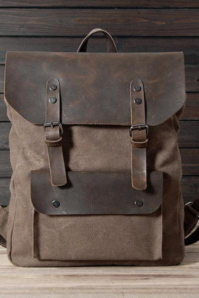 New backpack in Brown / Briefcase / Backpack / Messenger / Laptop / Men's Bag / Women's bag / travel bag / handbag / shoulder bag--T015