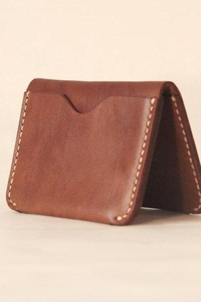 Handmade Leather wallet / card case / Minimal Leather Wallet / Cash Card Holder-T31
