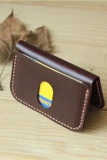 Handmade Leather Card Case / Slim Card Holder / Minimal Leather Wallet / Cash Card Holder—T26
