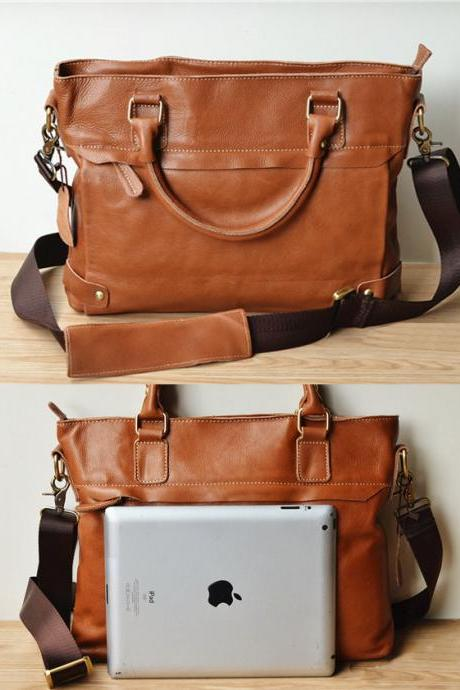 handmade cowhide leather lapto - Briefcase - Leather Laptop - school bag - crossbody