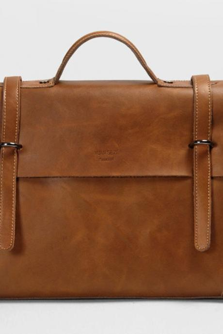 "15""Rugged Genuine Leather laptop - Messenger Bag - Leather Laptop - leather briefcase--T036"