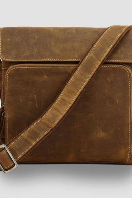 iPad bag / Leather Briefcase / Messenger / Laptop / Men's Bag in Retro brown-Y28