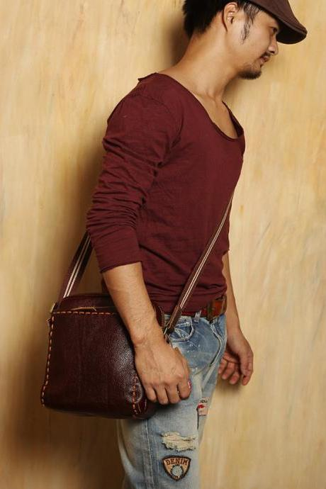 limited ---100% Leather Pocket / Leather Laptop / Inclined shoulder bag / fanny pack / leather bags / Men / For He—T062