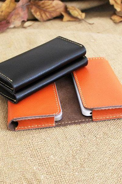 Handmade Genuine Leather double phone Wallet in Black / Men wallet / leather wallet / Phone wallet / iphone4s 5 Wallet / leather case